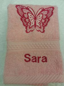 BUTTERFLY PERSONALISED FACE CLOTH - Deep Pink Butterfly